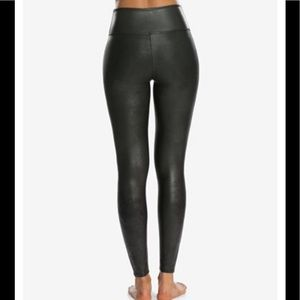 SPANX Pants - SPANX Faux Leather Tummy Control Leggings Size MED